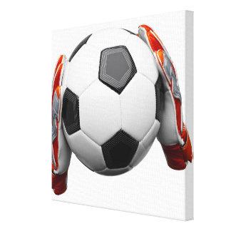 フットボールを保持する2つのゴールの看守の手袋 キャンバスプリント
