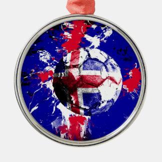 フットボールアイスランド シルバーカラー丸型オーナメント
