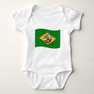 フットボール競技場は球が付いているブラジルの旗のように見えます ベビーボディスーツ