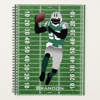 フットボール選手のデザインの週間か月例プランナー プランナー手帳