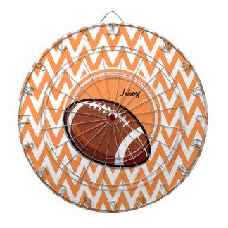 フットボール; オレンジおよび白いシェブロン ダーツボード