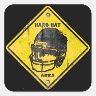 フットボール: ヘルメット区域 正方形シールステッカー