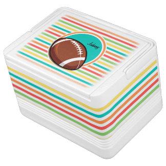 フットボール; 明るい虹は縞で飾ります クーラーバスケット
