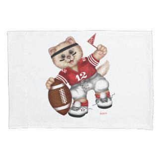 フットボールCATの独身のな標準サイズの枕カバー 枕カバー