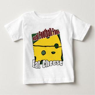 フットボールCheeseheadはチーズ緑および金ゴールドを食べます ベビーTシャツ