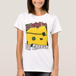 フットボールCheeseheadはチーズ緑および金ゴールドを食べます Tシャツ