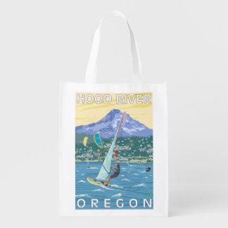 フッド川、ORWindのサーファー及び凧の寄宿生 エコバッグ