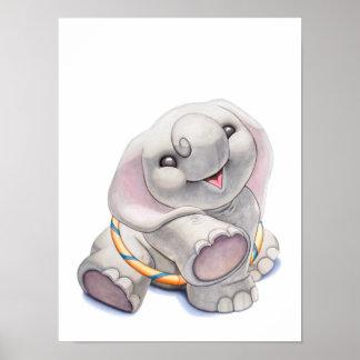 フラたがの子供部屋のプリントを持つベビー象 ポスター