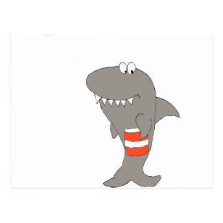 フライドチキンのバケツを持つ漫画の鮫 ポストカード