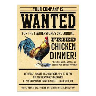 フライドチキンの夕食のパーティの招待状 カード