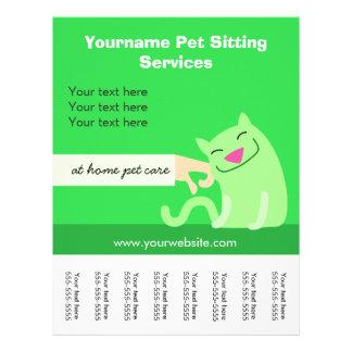 フライヤ緑のペット付き添いの猫 チラシ