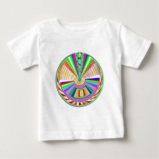 フライングディスク-車輪の円の虹パターン ベビーTシャツ