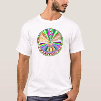 フライングディスク-車輪の円の虹パターン Tシャツ