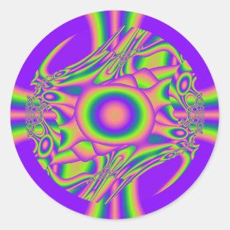 フラクタルのゆがみの紫色の緑のサイケデリック ラウンドシール