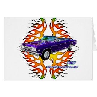 フラクタルのティー(TM)による1967年のChevy Chevelle グリーティングカード