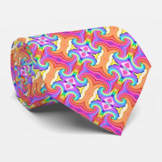 フラクタルのパステルカラーの渦巻パターン オリジナルネクタイ