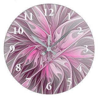 フラクタルのピンクの花の夢、花のファンタジーパターン ラージ壁時計