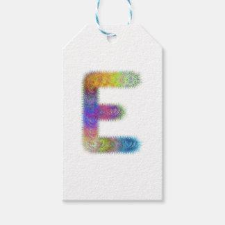 フラクタルの手紙Eのモノグラム ギフトタグ