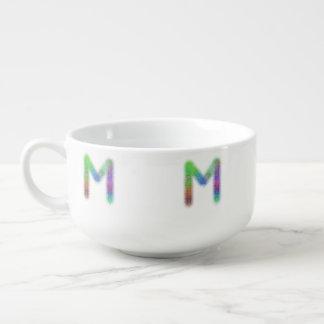 フラクタルの手紙Mのモノグラム スープマグ
