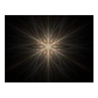 フラクタルの星または雪片のデザイン ポストカード