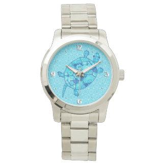 フラクタルの渦巻のカメ-コバルトおよび青緑 腕時計