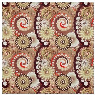 フラクタルの渦巻のパターン、チョコレートおよびクリーム ファブリック