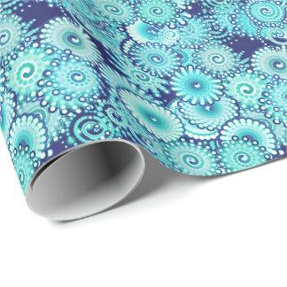 フラクタルの渦巻パターン、デニムの青の色合い ラッピングペーパー