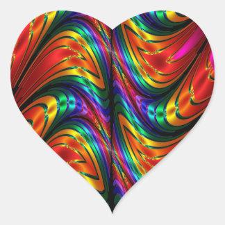 フラクタルの絹の虹 ハートシール