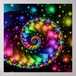 フラクタルの螺線形の虹の星雲 ポスター