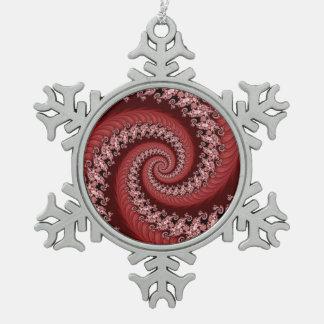 フラクタルの赤い二重螺線形の雪片 スノーフレークピューターオーナメント