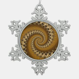 フラクタルの金ゴールドの倍の螺線形の雪片 スノーフレークピューターオーナメント