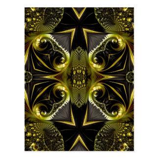 フラクタルの金黒の抽象芸術 ポストカード
