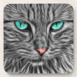 フラクタルの青い目の猫 コースター