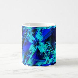 フラクタルの青い花のマグ コーヒーマグカップ