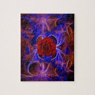 フラクタルの青および赤いバラ ジグソーパズル