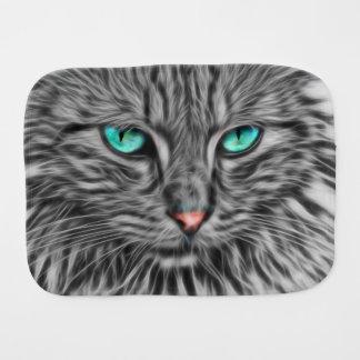 フラクタル灰色猫のイラストレーションのベビー バープクロス