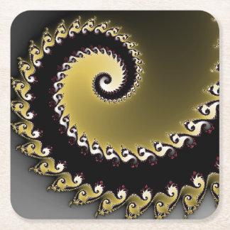 フラクタル。 金ゴールド、銀、black.silver スクエアペーパーコースター