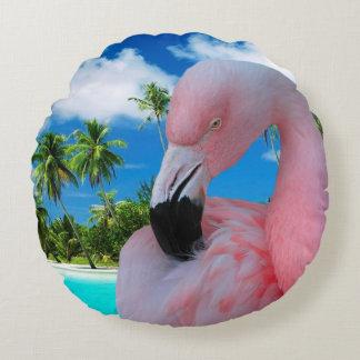 フラミンゴおよびビーチ ラウンドクッション