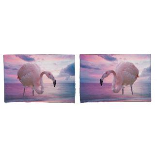 フラミンゴおよびピンクの空 枕カバー