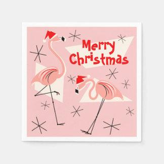 フラミンゴのサンタのピンクのメリークリスマスの紙ナプキン スタンダードカクテルナプキン