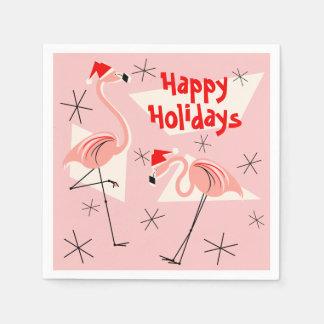 フラミンゴのサンタのピンクの幸せな休日の紙ナプキン スタンダードカクテルナプキン