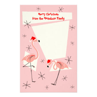 フラミンゴのサンタのピンクの文字の文房具 便箋
