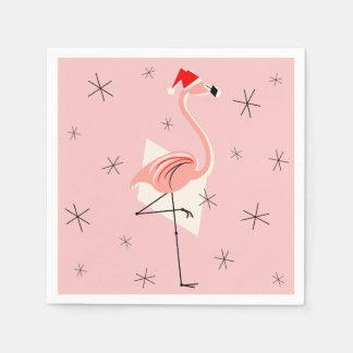 フラミンゴのサンタのピンクの紙ナプキン スタンダードカクテルナプキン