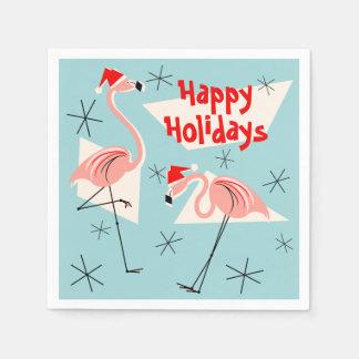 フラミンゴのサンタの青く幸せな休日の紙ナプキン スタンダードカクテルナプキン