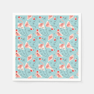 フラミンゴのサンタの青く数々のな紙ナプキン スタンダードカクテルナプキン