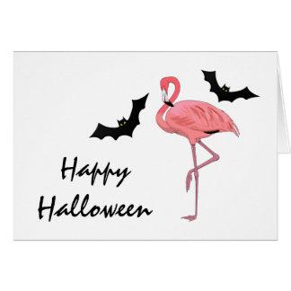 フラミンゴのハロウィンのこうもり カード