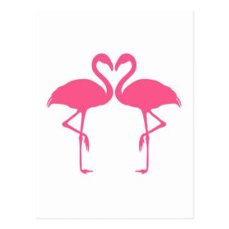 フラミンゴのハート、愛の2羽のピンクのフラミンゴ ポストカード