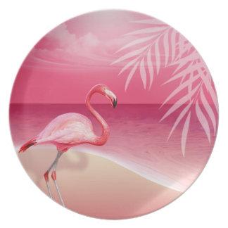 フラミンゴのビーチ のピンク プレート