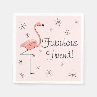 フラミンゴのピンクのすばらしい友人! 紙ナプキン スタンダードカクテルナプキン
