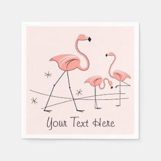 フラミンゴのピンクのトリオ2の文字の紙ナプキン スタンダードカクテルナプキン